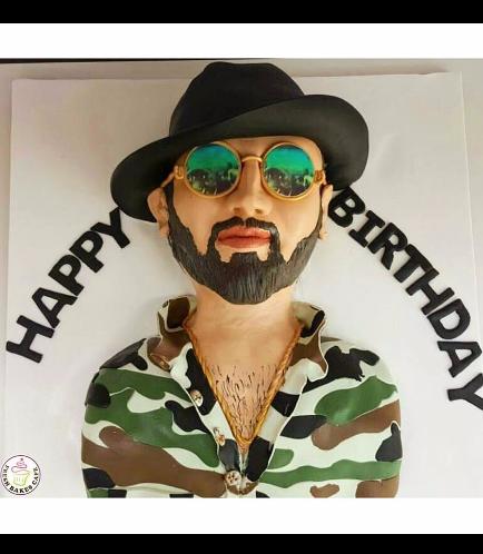 Man Themed Cake - 2D Bust Cake 01a