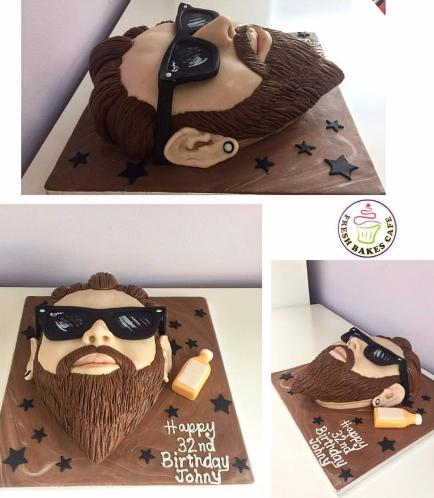 Man Themed Cake - 2D Face Cake 01b