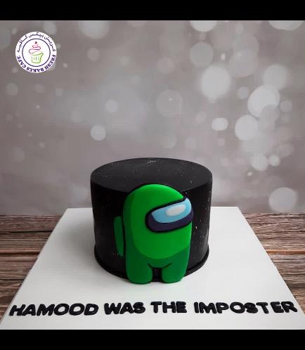 Among Us Themed Cake - 2D Cake Topper - Green