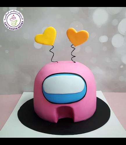 Among Us Themed Cake - Valentine's - 3D Cake