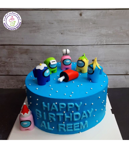 Among Us Themed Cake - 3D Cake Toppers - Blue Cake - 1 Tier 02a - 02