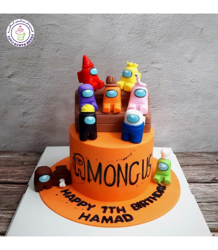 Among Us Themed Cake - 3D Cake Toppers - 1 Tier - Orange Cake