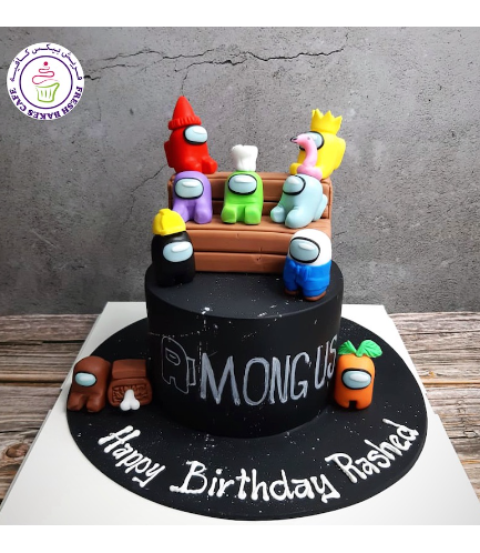 Among Us Themed Cake - 3D Cake Toppers - 1 Tier 03a
