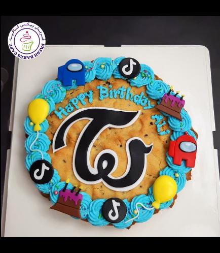 Among Us Themed Chocolate Chip Cookie Cake 01 - TikTok & Twice Logos