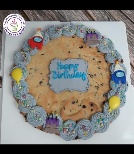 Among Us Themed Chocolate Chip Cookie Cake 01