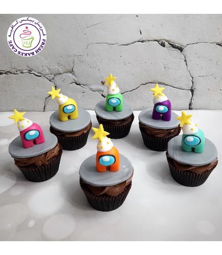Among Us Themed Cupcakes - 3D Toppers - Party Hats