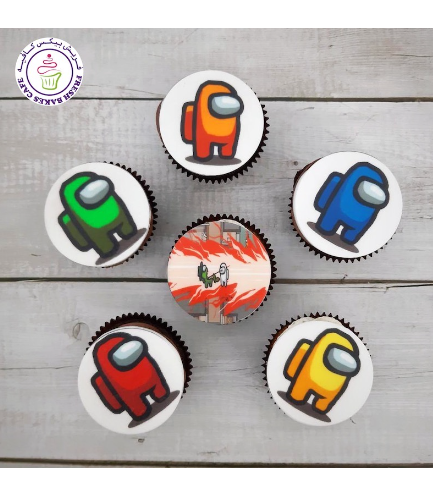 Among Us Themed Cupcakes - Printed Pictures
