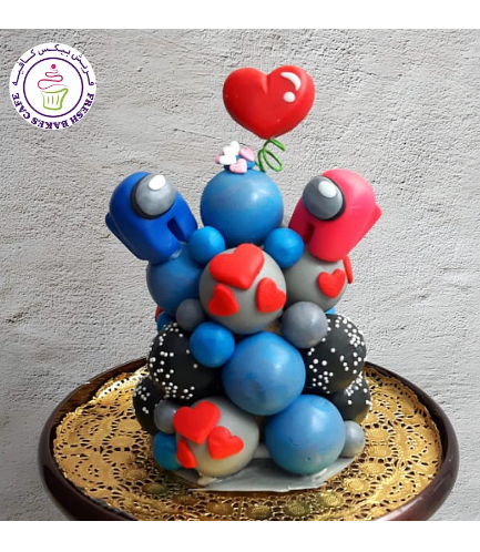Among Us Themed Cake Pops Tower - Valentine's