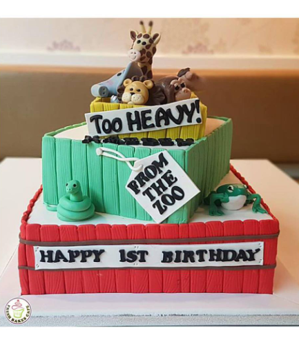 Cake - Animals - Jungle Animals - 3D Cake Toppers - Square Cake - 2 Tier 01a