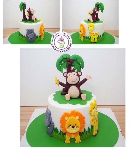 Animals Themed Cake - Jungle Animals - 3D Monkey Cake Topper & 2D Cake Toppers - 1 Tier 05