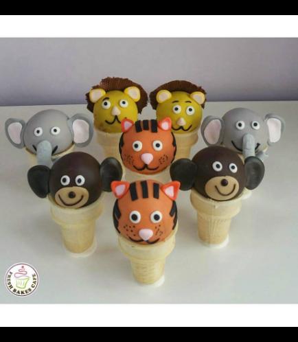 Jungle Animals Themed Cone Cake Pops