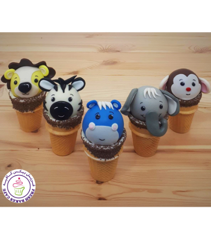 Animals Themed Cone Cake Pops - Jungle Animals 01
