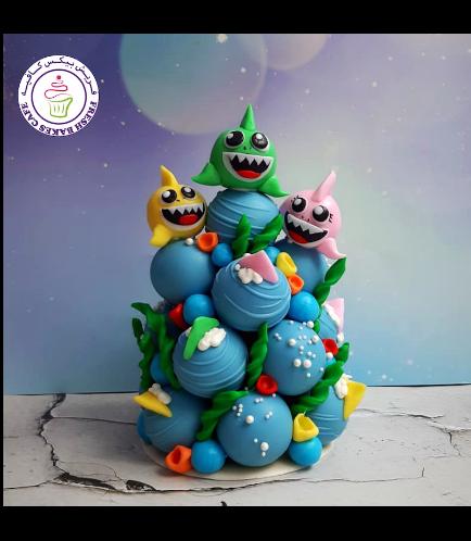 Baby Shark Themed Cake Pops Tower