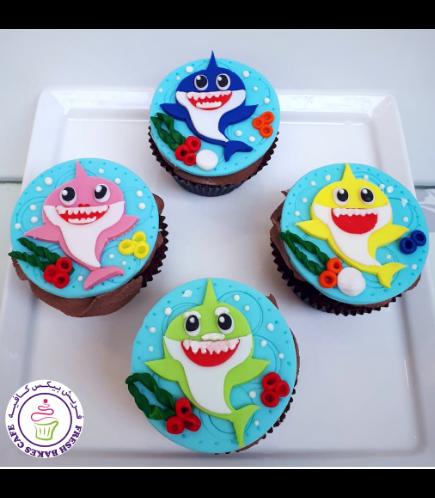 Baby Shark Themed Cupcakes