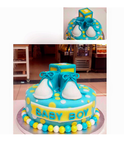 Cake - Baby Shower - Baby Booties - Boy 01