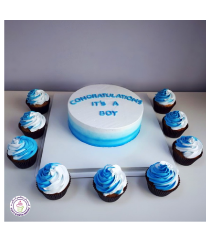 Cake - Baby Shower - Cream Ombre