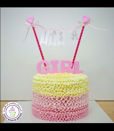 Cake - Baby Shower - Cream Ruffle 01 - Pink