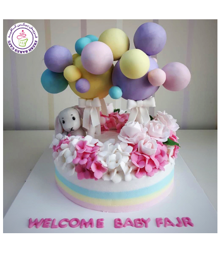Cake - Baby Shower - Rabbit, Balloons, & Flowers 01