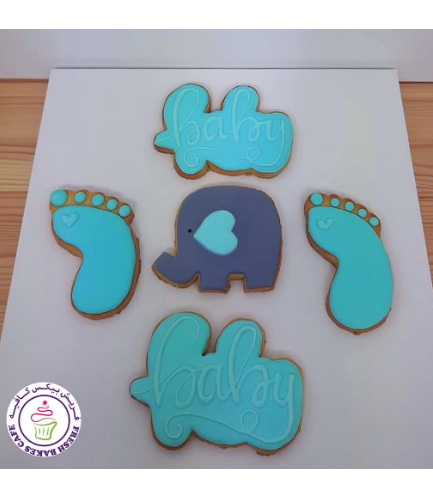 Cookies - Baby Shower - Elephant - Blue 02