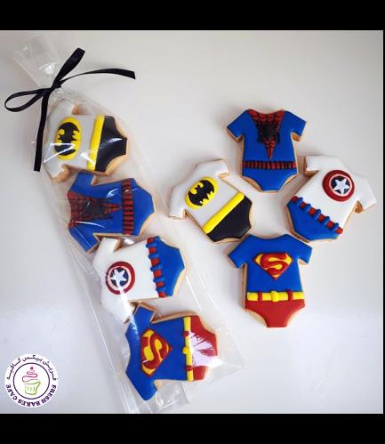 Superheroes Themed Cookies - Baby Onesies - Minis