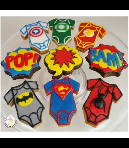Superheroes Themed Cookies - Baby Onesies 01