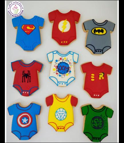 Superheroes Themed Cookies - Baby Onesies 02