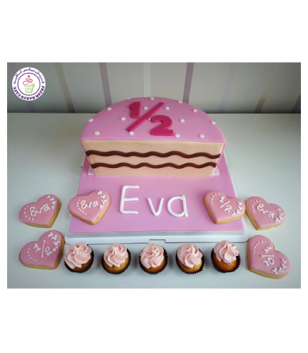 Baby's 6 Months Birthday Celebration Themed Cake - Pink 01b