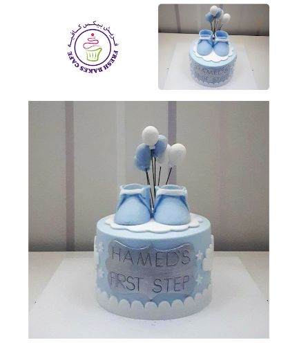 Baby's First Step Themed Cake - Baby Booties - Blue 02