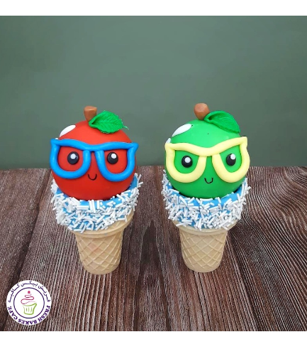 Cone Cake Pops - Back to School - Apples 03