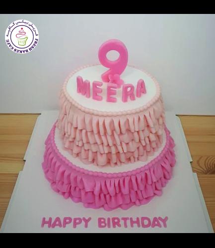 Fondant Cake - Pink & White