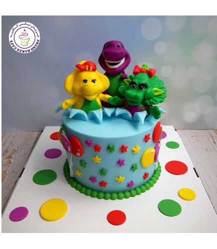 Barney Themed Cake - 3D Cake Toppers - 1 Tier