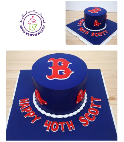 Baseball Themed Cake - Boston Red Sox Logo