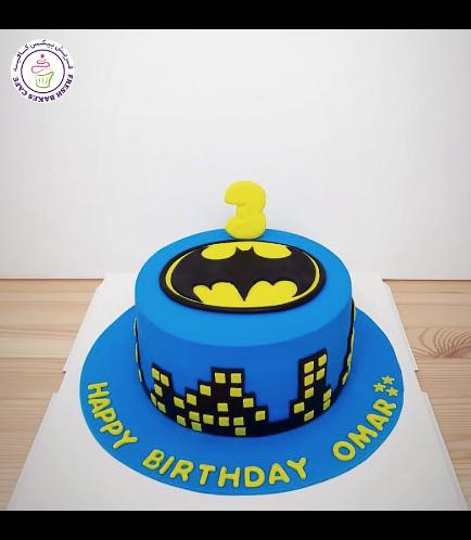 Batman Themed Cake - Logo - Fondant Cake - Blue 01