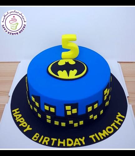 Batman Themed Cake - Logo - Fondant Cake - Blue 02