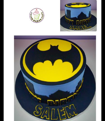 Batman Themed Cake - Logo - Fondant Cake - Grey 01