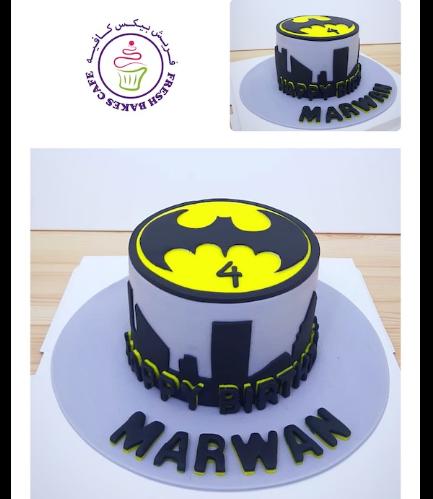 Batman Themed Cake - Logo - Fondant Cake - Grey 02