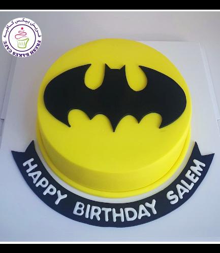 Batman Themed Cake - Logo - Fondant Cake - Yellow 02