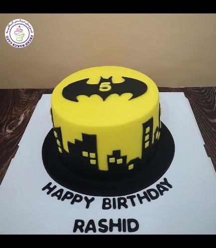 Batman Themed Cake - Logo - Fondant Cake - Yellow 03