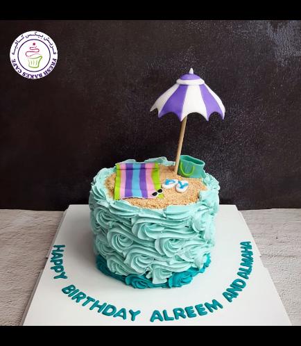 Beach Themed Cake - Cream Piping