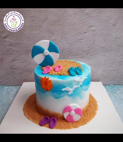 Beach Themed Cake - Filflops & Beach Ball