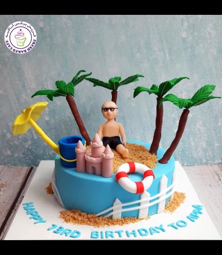 Beach Themed Cake - Sand Castle & Man