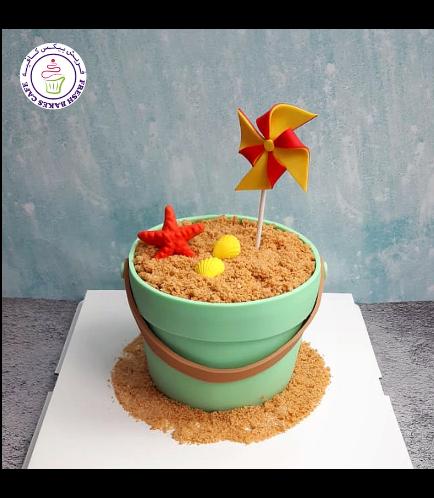 Beach Themed Cake - Sand Pail - 3D Cake 02