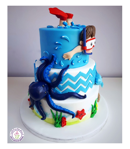 Beach Themed Cake - Snorkeling - Boy 2D - 2 Tier 02b