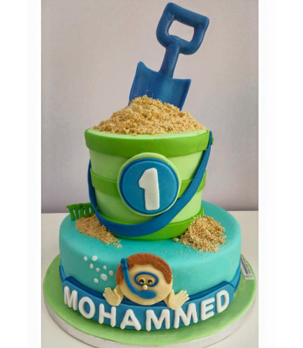 Beach Themed Cake - Snorkeling - Sand Pail & 2D Boy