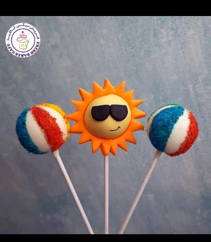 Beach Themed Cake Pops - Sun & Beach Ball