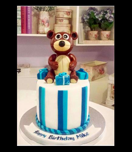 Bear Themed Cake - 3D Cake Topper - 1 Tier 01b