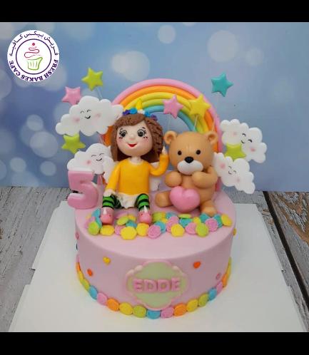 Bear Themed Cake - 3D Cake Toppers - Girl & Bear