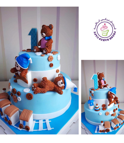 Cake - Bear - 3D Cake Toppers - 2 Tier 01b