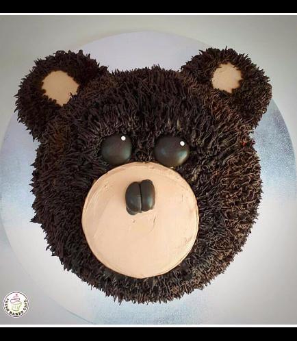 Bear Themed Cake - 2D Bear Head - Cream Cake