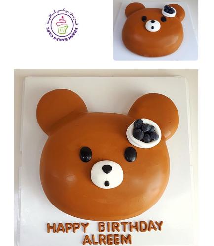 Bear Themed Cake - 2D Bear Head - Fondant Cake